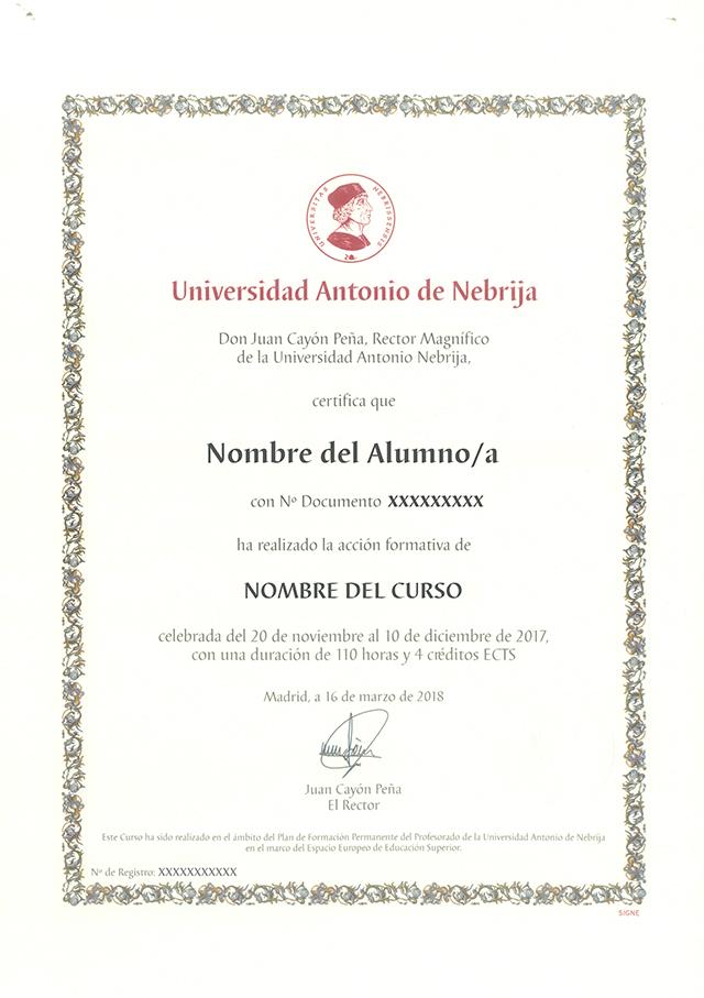Titulación Avalada por la Universidad Nebrija